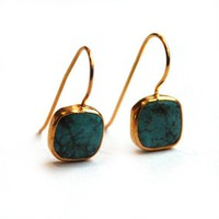 Turquoise Small Square Earrings With Silver Settings by toosis