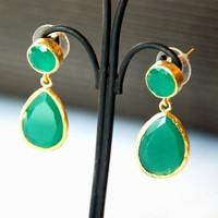 Angelina Jolie Style Green Jade Drop Earrings by toosis on Etsy