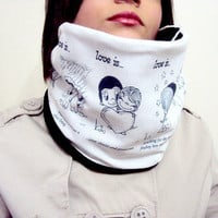Love is...Fantastic Valentines Day Gift Cowl Scarf with Nostalgic Drawings