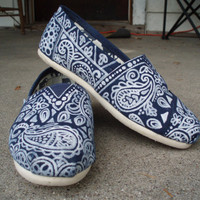 Handpainted Custom Toms Shoes Paisley Design by FancyToms on Etsy