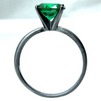 Emerald Right-Hand Ring, Tiffany Set Emerald in Sterling Silver