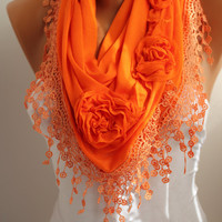 New- Valentine's Day gift Orange Rose Cotton Shawl/ Scarf - Headband -Cowl with Lace Edge