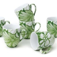 One Kings Lane - Casual Entertaining - S/6 Mystic Garden Mugs