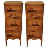 One Kings Lane - Agostino - Circa 1920 Vintage Chinoiserie Lacquered Chest of Drawers, S/2