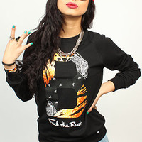 Breezy Excursion Paisley Tiger Crew Black Womens