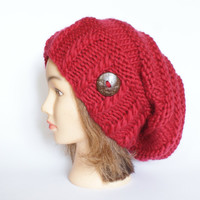 Wool red slouch hat women - beanies hat - Slouch Beanie - Large hat - chunky hat - Chunky Knit Winter Fall Accessories , Slouchy hat