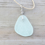 Sea Glass  Beach Necklace Pale Aqua