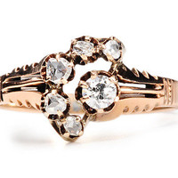 Antique Crescent Moon & Star Diamond Ring - The Three Graces