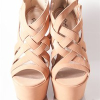 Criss Cross Wedge Sandals - Nude at Lucky 21 Lucky 21