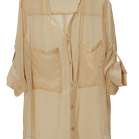 New Collarless Button-front See-through Long Sleeve Casua Chiffon Shirt Blouse