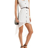 Belted Button-Front Ribbed Tank Dress: Charlotte Russe