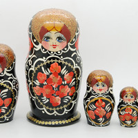 5 Authentic Russian Nesting dolls Matryoshka flowers roses free shipping