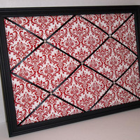 Red &amp; White Damask fabric ~ Black Wood Framed Memo Board by ToileChicBoutique