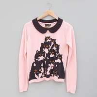 Crazy Cat Candy Pink Sweater with Detachable Black Peter Pan Collar by Pretty Snake