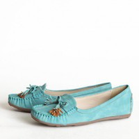 Balboa Boulevard Loafers In Light Teal | Modern Vintage Shoes