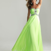 Gorgeous Lime Chiffon Beaded Key Hole Sweetheart Prom Dress