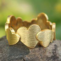 Gold plated heart ring, 'Much Love'
