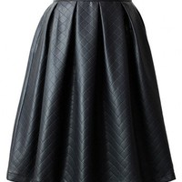 Faux Leather Diamond Pleated Skirt in Black