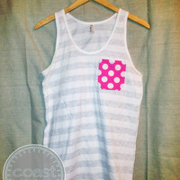 Stripe and Dot Pocket Tank