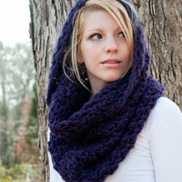 The Chunky Cowl Scarf Shawl Hood  Eggplant by CThandmade on Etsy