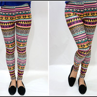 Sandysshop — Colorful Aztec Tribal Print Leggings