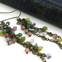 Long Dangle Earrings Bohemian Flower Cascade by LeafAndTendril