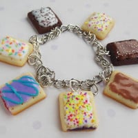 polymer clay pop tart charm bracelet by ScrumptiousDoodle on Etsy