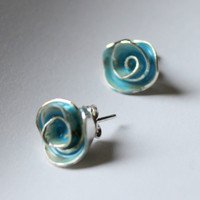 Pastel Blue Enamel Rose Stud Earrings by meltemsem on Etsy