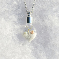 Terrarium Necklace Heart Necklace Winter White by Hieropice