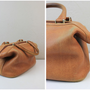 Liz Claiborne Vintage Brown Leather Doctor&#x27;s Bag Style Framed Purse