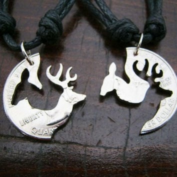 Buck and Doe Quarter Necklace, Browning, Deer, Puzzle, interlocking, Engaged Couples