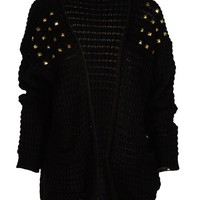 Black Studded Shoulder Open Front Slouch Knit Cardigan