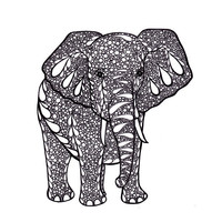Ink Drawing Elephant Zentangle Inspired Art Print- Printable Art by JoArtyJo