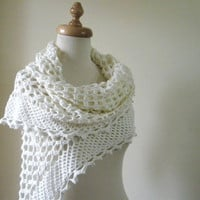 Wedding IVORY SHAWL Hand CROCHETED Wedding Gown by filofashion