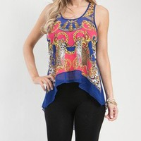 Cute Blue & Pink High Low Cut Racer Back Top w Gold Chain Print & Leopard Design