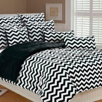 Amazon.com: Marlo Lorenz 4892 Chevron Microplush Comforter Set, Black/White, Twin: Home &amp; Kitchen