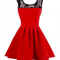 VTG Red A-line Mini flouncy dress - Lace collar cocktail Ska