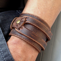 Antique Men's Brown Leather Cuff Bracelet, Leather Wrist Band Wristband Handcrafted Jewelry