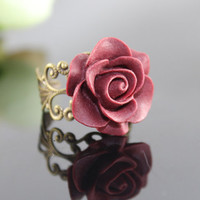 Vintage Wine red ROSE Resin adjustment Ring