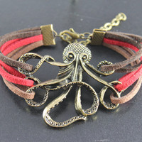 Octopus Bracelet---antique bronze octopus pendant octopus bracelet with colorful rope