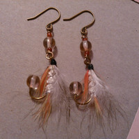 Fishing Fly Earrings  Orange Yellow White and by MajaEarrings
