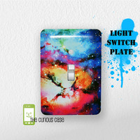 Light Switch Plate Cover - Metal Cover 5 x 3.5 inches - Unicorn Space Nebula Rainbow Switch Cover