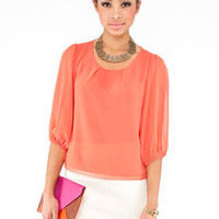 Simple Zip Blouse in Orange :: tobi
