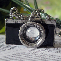 Vintage silver BLACK camera necklace pendant - jewelry with vintage style