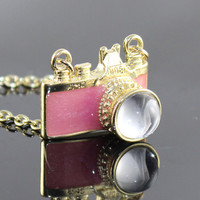 Vintage golden  PINK camera necklace pendant - jewelry with vintage style