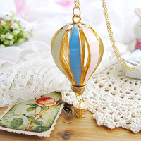 Hot Air Balloon Necklace,The air dream house necklace ,dazzle colour balloon,Pendant of color Hot Air Balloon on Gold Chain