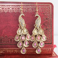 Pink Peacock earrings vintage style
