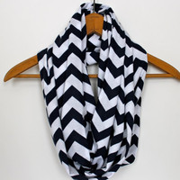 SOFT Chevron Infinity Scarf - Navy Blue &amp; White Zig Zag - Loop Jersey Knit Scarf - Circle Scarf