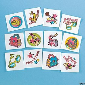 Glitter Glamorous Girl Temporary Tattoos (6 dz)