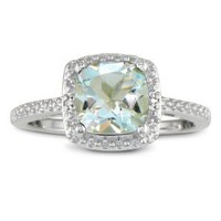 2 3/4ct Cushion Cut Green Amethyst and Diamond Ring in Sterling Silver